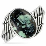 King Baby Silver And Spotted Turquoise Wing Top Hat Cuff Bracelet Size 7.5