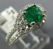 1.21ct Diamond And Aaa Emerald 14kt White Gold 3d Cushion And Round Engagement Ring