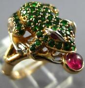 Large 1.87ct Diamond And Aaa Ruby And Tsavorite 14kt Rose Gold Happy Lucky Frog Ring