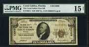 10 1929 Coral Gables Florida Fl National Currency Bank Note Bill Ch 13008 Fine