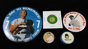Vintage Lot Mickey Mantle Pinbacks Buttons Sharpener Flicker And Gold Watch Faces