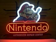 New Nintendo Repair Center Neon Light Sign 24x20 Man Cave Game Real Glass