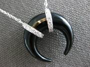 5.44ct Diamond And Aaa Onyx 14k 2 Tone Gold Horse Shoe Moon By The Yard Necklace