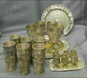Vintage Mexican Abalone Serving Set Glasses Goblets Cordials And Trays -rare