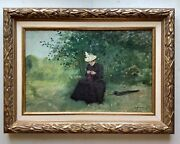 19th Century French Impressionism Oil Painting Woman In A Park Octave Guenard