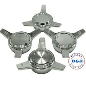 3 Bar Cut Straight Chrome Knock-off Spinner Caps For Lowrider Wire Wheels