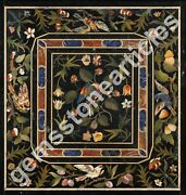 3and039x3and039 Black Marble Decorative Center Table Top Handmade Traditional Collectible