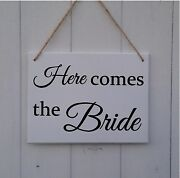 And039here Comes The Brideand039 Wedding Prop Sign Page Boy Bridesmaid Flower Girl Daddy