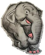 Rare Vintage Grey Elephant Craft Fabric Panel Cut N Sew Pillow Zoo Doll Toy