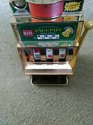 Vintage Battery Operated Coin Mini Toy Slot Machine Jackpot Lights Up When Won