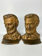 Antique Pair Abe Lincoln Cast Iron Metal Bronze Bookends Hubley Pairpoint