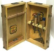 Vintage American Tool Chest American Toy And Furniture Co. Wood Box And Tools