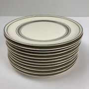 Lot Of 11 White Pope Gosser China Plate / Dish With Silver Trim - 6 1/8 X 5/8