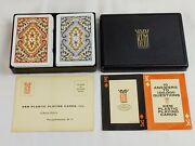Vtg 1947 2 Kem Paisley Plastic Playing Cards Decks With Case Complete Blue Red