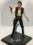 Harrison Ford Han Solo Signed Hot Toys 16 Scale Display Stand Beckett Bas