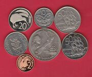 Seven Coins From New Zealand 1969 To 2002 In High Grade Condition.