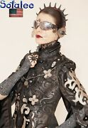 New Usa Gothic Style Black Silver Jacket Of Genuine Leather Lace For Women. Sm