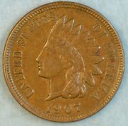 1907 Indian Head Cent Vintage Penny Old Us Coin Liberty Full Rims Fast Sandh 504