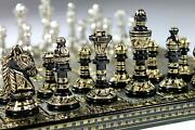 Collectible 100 Brass Vintage Chess Board Game Set 10 With Brass Pieces/coins.