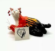 """Annaco Creations 7"""" Whimsiclay Cat Hot Rod Flames By Amy Lacombe Red Black 2001"""