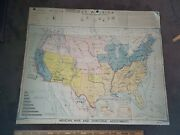 Vintage 1949 Denoyer-geppert Map Wa20 Mexican War And Territorial Adj. Usa Made
