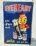 Antique Old Rare Eveready Trade Mark Torch And Battery Ad Porcelain Enamel Sign