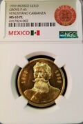 1959 Mexico Gold Medal Grove P 45 Venustiano Carranza Ngc Ms 63 Pl Proof Like