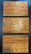 African Scene Wood Carving On Blocks Woodblock Hand Carved Stained Art 3