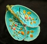 French Majolica Faience Strawberry Server Luneville C1880 Teal Blue Handled Dish