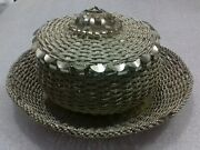 Vintage Old Albania Silver 800 Knitted Box+plate-handcraft Jewellery Case-1960