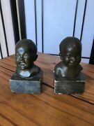 Pair Of 19th C Bronze Baby Heads One Crying, One Laughing, Marble Bases Signed