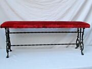 Antique Ornate Wrought Iron 48 Bench Velvet Cushion Seat Outdoor / Indoor