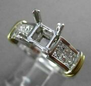 Estate Wide .64ct Diamond 14k Two Tone Gold 2 Row Semi Mount Engagement Ring 220