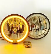 Quality Custom 7 Clear Headlight Lens- With Amber Halo Ring- 1 Pair 12v