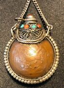 Old Chinese 925 Sterling Silver Coral And Turquoise Foo Dog Snuff Bottle Necklace