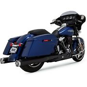 Vance And Hines - 46780 - Monster Round Slip-ons Black With Chrome Tips Harley Ro