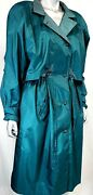 Vintage British Mist Womenand039s Teal Rain Coat Size 11/12 P With Zip Out Lining
