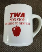 Vintage Twa Trans World Airlines Coffee Cup Mug, Non-stop San Diego To New York