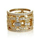 Jean Dousset Vermeil Absolute Crown Eternity Band Goldtone Ring Size 6