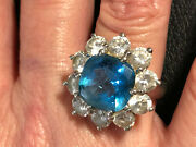 Vintage Sterling Ring Blue Topaz With Cz Accents Size 7 Wt 11.3g 455