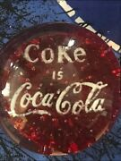 Vintage 1950 - 1970 Coca Cola Advertising Glass Paperweight Coke Is Coca Cola