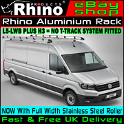 Vw Crafter Roof Rack Rhino Aluminium With Rear Roller L5-lwb Maxi H3 2017-2020