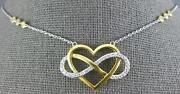 Large .56ct Diamond 14kt 2 Tone Gold 3d Heart Infinity By The Yard Love Necklace