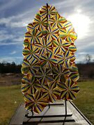 Paperweight Multicolored Millefiori Stained Glass Sculpture On Metal Stand