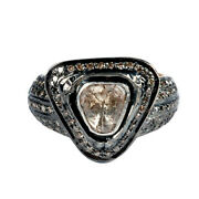 925 Sterling Silver Pave Diamond Ring 14k Gold Handmade Jewelry