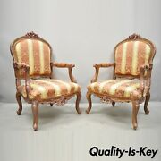 Pair Of French Louis Xv Style Repro Pink And Gold Bergere Lounge Arm Chairs