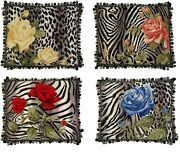 Needlepoint Pillows Set Of 4 Zebra Leopard Print Rose For Chair Sofa Couch Bed