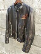 Mens Dsquared Black Leather Flame Embroidered Motor Cycle Jacket 48 Msrp 2940