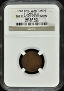 1863 Civil War Token F-206/323 A Ngc Ms63 Bn The Flag Of Our Union
