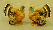 Vintage Napcoware Thanksgiving 2 Turkey Figurines Candles Holders, Made In Japan
